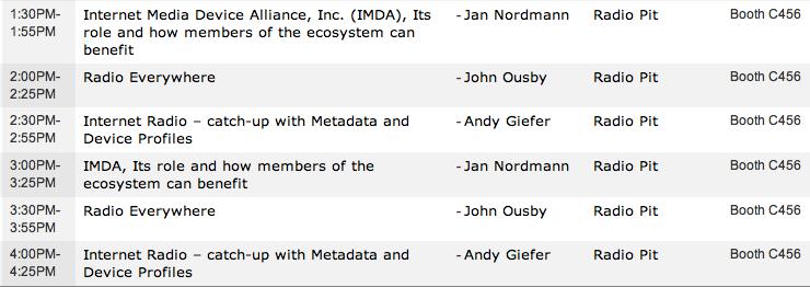 IMDA Sessions at NAB Las Vegas - Table